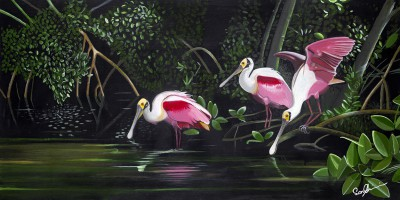 3 Spoonbills in Paradise